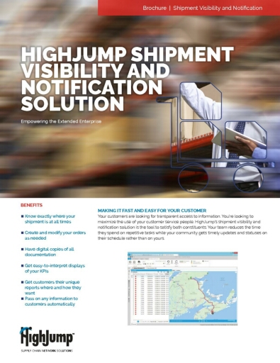 HighJump Shipment Visibility and Notification Software