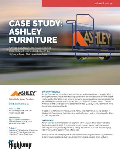 Ashley Furniture increased productivity and expanded globally