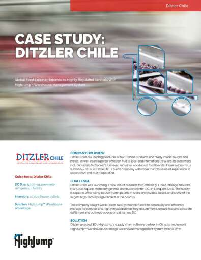 Ditzler Chile - Global food exporter expands its highly regulated services with HighJump warehouse management system