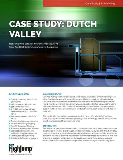 HighJump WMS nourishes productivity for Dutch Valley food distribution