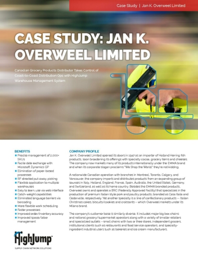 Jan K Overwheel, Canadian grocery products distributer, achieves lean goals with Highjump WMS