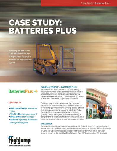 Specialty Retailer Batteries Plus on HighJump Supply Chain Software